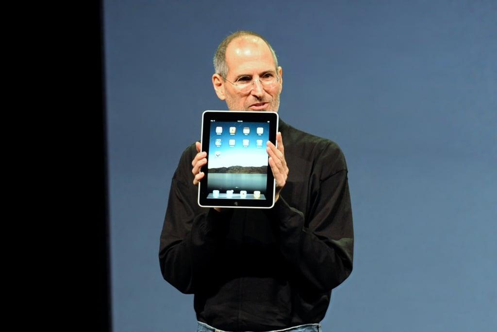 Steve Jobs with the Apple iPad, copyright Matt Buchanan https://en.wikipedia.org/wiki/Steve_Jobs#/media/File:Steve_Jobs_with_the_Apple_iPad_no_logo.jpg