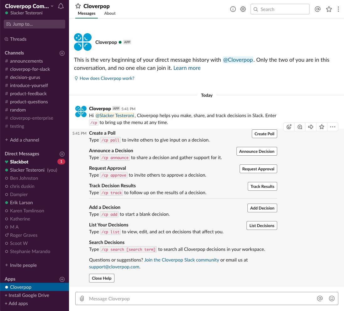 Cloverpop Feature Help in Slack